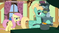 Zephyr Breeze eating Fluttershy's carrot soup S6E11