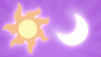 Celestia and Luna's cutie marks in the sky S4E25