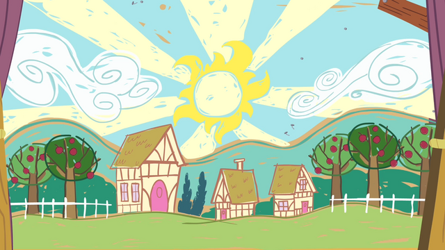 File:Drawing of Ponyville S4E05.png