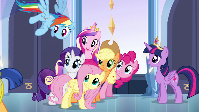 File:Main cast and Cadance looking back at Flash EG.png