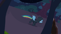 Rainbow Dash escaping through the woods S2E16