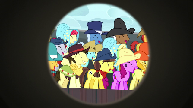 File:Spectator ponies laughing at Trouble Shoes S5E6.png