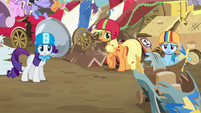 Rarity, Applejack, and Rainbow Dash surprised S6E14