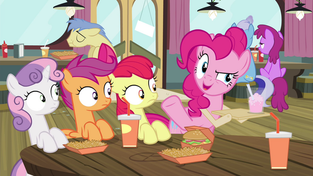 "File:Pinkie Pie ""Haven't seen you here in, like"" S4E15.png"