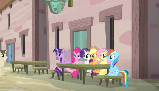 File:Mane Six sitting across from Double Diamond S5E1.png