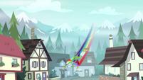 Rainbow Dash zipping down to the houses EG4