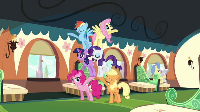 File:The Mane six cheering routine S3E12.png