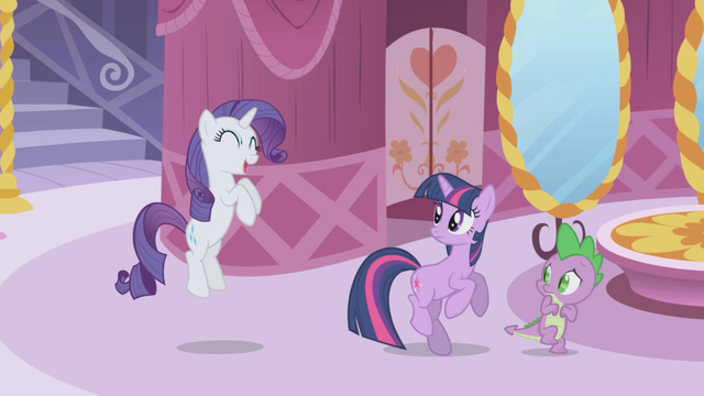 "File:Rarity squealing ""makeovers!"" S1E03.png"