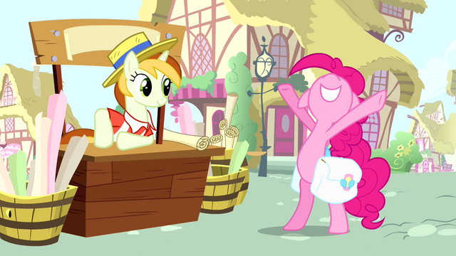 File:Pinkie Pie and banner vendor pony S4E12.png