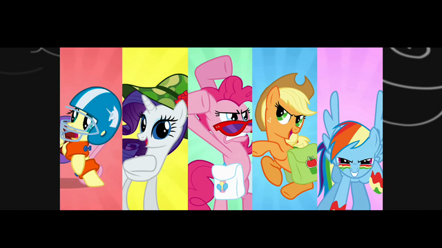 File:Ponies montage posing S1E07.png