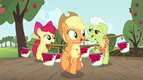 AJ, Apple Bloom, and Granny Smith carrying paint S3E8