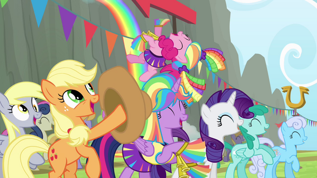 File:Mane 4 cheering for Rainbow S4E10.png