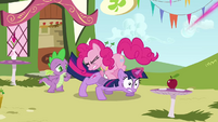 Pinkie Pie jumping on Twilight S3E3