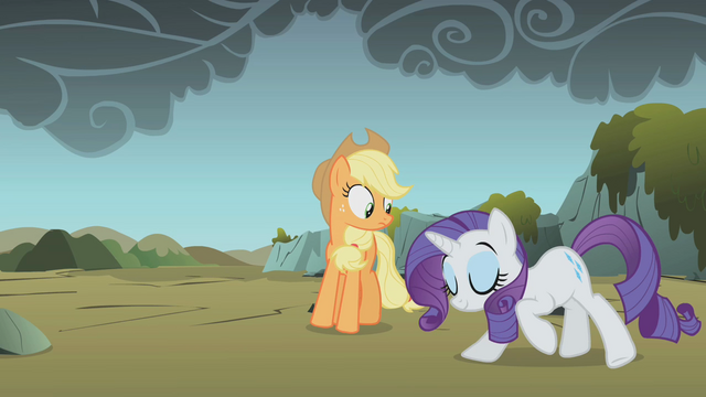 File:Rarity bowing Applejack suspicious S1E7.png