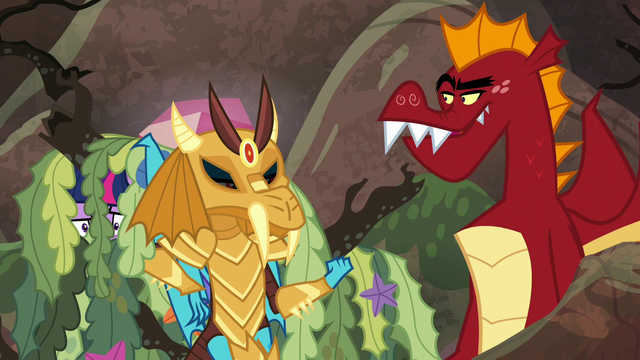 "File:Ember ""robbed some ponies on my way over here"" S6E5.png"