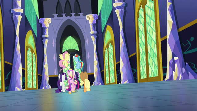 File:Main five and Cadance walking down castle hall S5E19.png