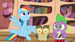 Rainbow, Owlowiscious and Spike playing around S4E21.png