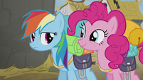 Rainbow and Pinkie looking at each other S5E8