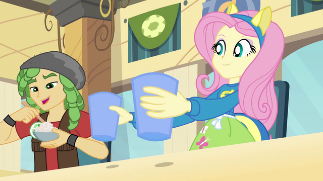 File:Fluttershy banging cups on the table 2 EG.png