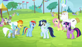 Ponies cheering S4E10.png