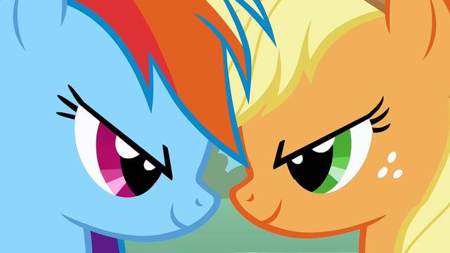 File:Applejack and Rainbow Dash head clash S1E13.png