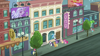 Rarity and friends look at the boutique 'Rarity for You' S6E9