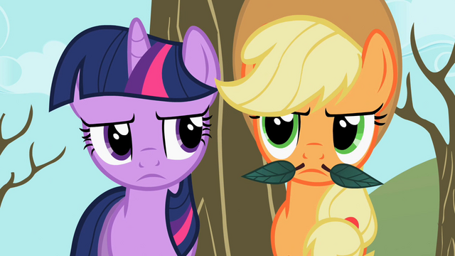 File:Twilight staring Applejack's stache S2E10.png