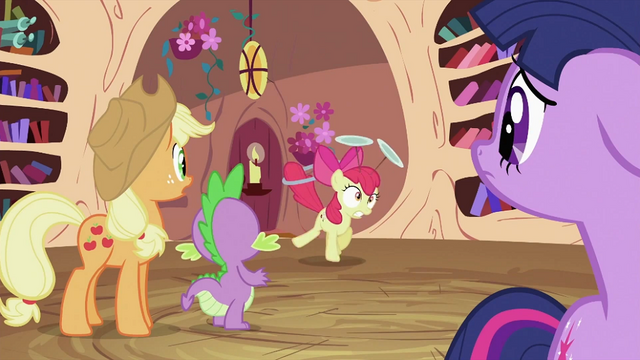 File:Applejack, Spike and Twilight looking at Apple Bloom S2E06.png