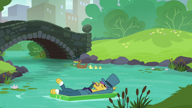 File:Business pony floating away on the creek S5E16.png