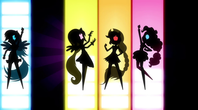 File:Silhouettes of Dash, Fluttershy, AJ, and Pinkie EG2.png