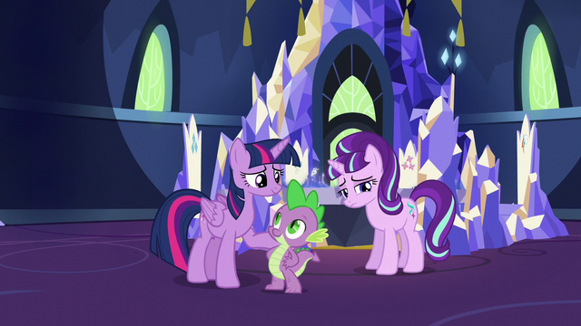 File:Twilight and Spike look at each other; Starlight looking unhappy S5E26.png