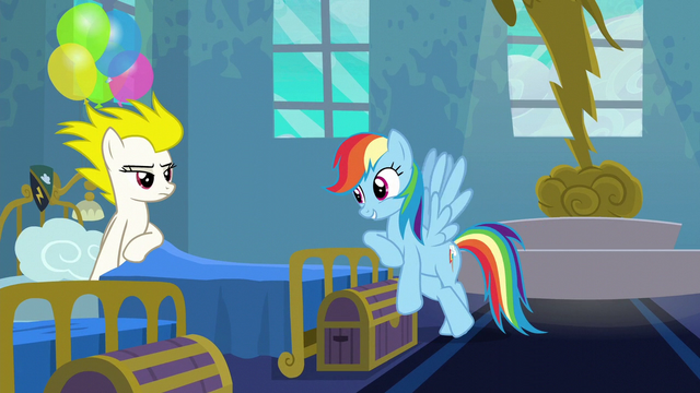 File:Rainbow Dash leaning on Surprise's bed S6E7.png