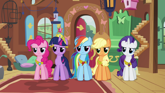 File:Twilight and friends angry at Discord S03E10.png