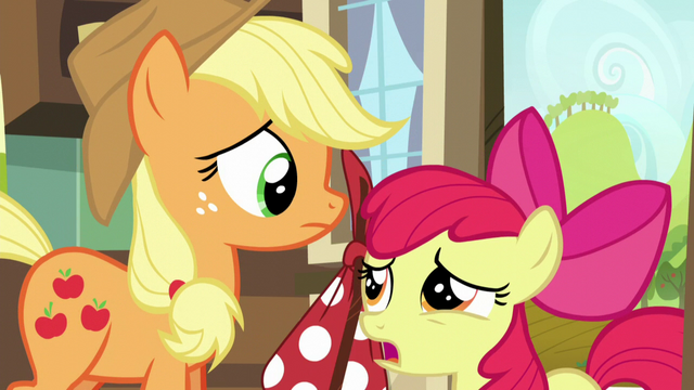 File:Apple Bloom suggest Applejack to tell the map to wait a few days S5E17.png