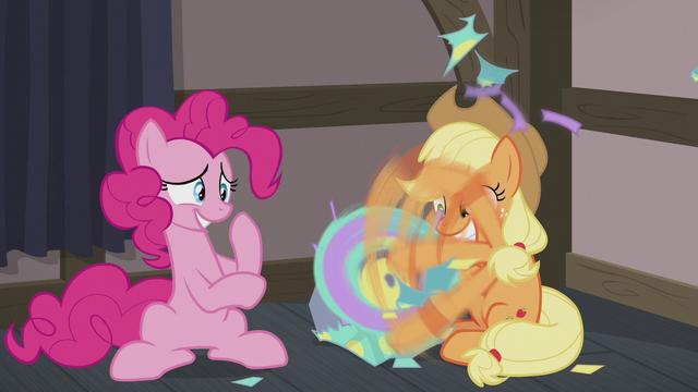 File:Applejack tearing her present open S5E20.png