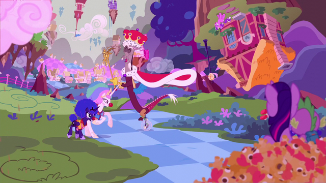 File:Discord with the princesses in clown costumes S5E26.png