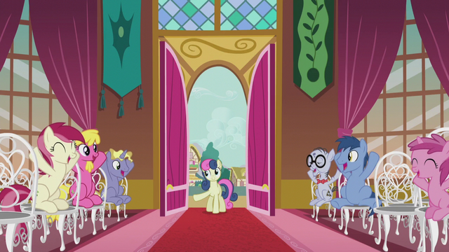 File:Ponies at town hall cheering S5E9.png