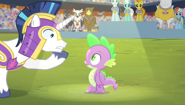 "File:Shining Armor ""they only play the anthem for the winner"" S4E24.png"