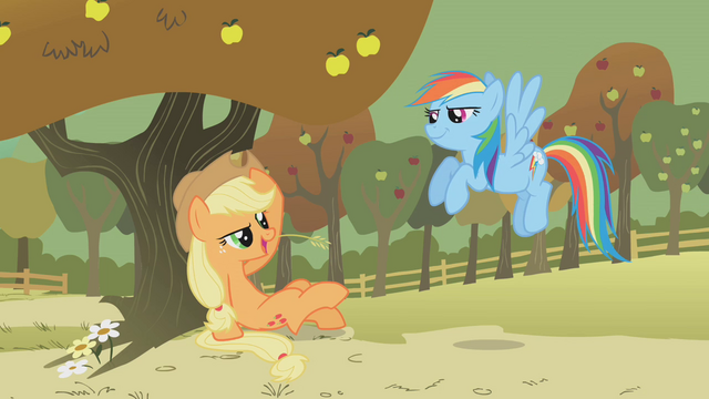 File:Applejack chewing hay S01E13.png