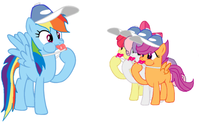 File:FANMADE Rainbow Dash and the CMC blowing whistles.png