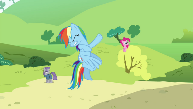 File:Rainbow, Maud and Pinkie just before getting hit by a wave S4E18.png