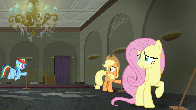 File:Rarity's friends hear Rarity who needs Fluttershy's assistance S6E9.png