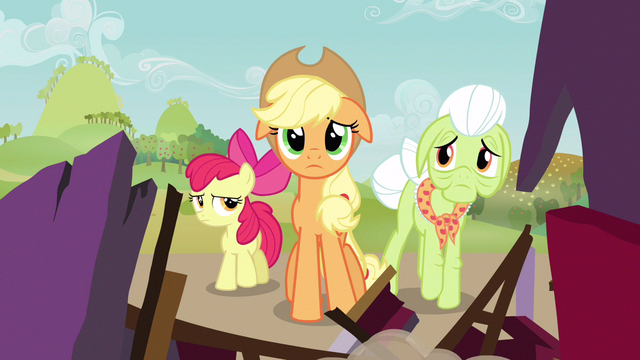 File:Applejack taking in reality S3E8.png