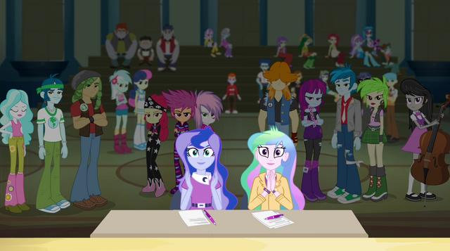File:Celestia and Luna applaud the Rainbooms EG2.png