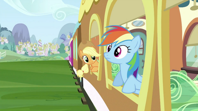 File:Rainbow Dash and Applejack at train window S2E25.png