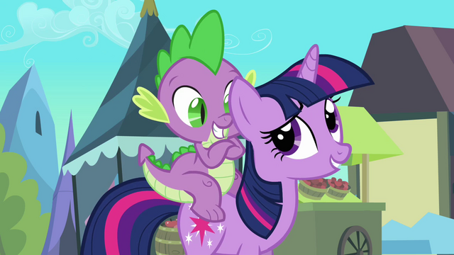 File:Spike is happy he gets to go with Twilight S3E2.png
