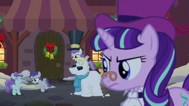 File:Tornado Bolt throws a snowball at Liza Doolots; Snowfall gives a stern look S06E08.png