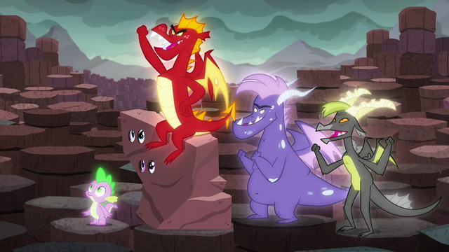 File:Garble and his friends cheer S6E5.png
