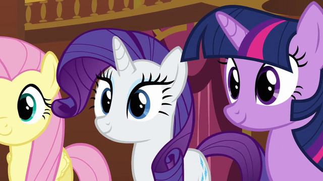 File:Fluttershy Rarity and Twilight smiling at Pinkie S3E3.png