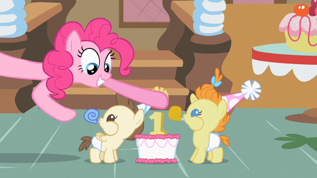 File:Pinkie Pie smiling at twins S2E13.png